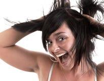 håröverrrakningkvinna royaltyfri fotografi
