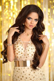 hår elegant kvinna för brunett fashion smycken Krabb frisyr S Arkivfoto