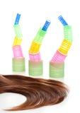 hår för 5 hårrullear som long isoleras Royaltyfri Fotografi
