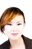 Hår för attraktiv asiatisk amerikansk kvinna för stående kort Arkivbilder
