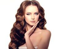 hår long Vågkrullningsfrisyr Skönhetkvinna med långt sunt och skinande slätt svart hår Updo Modefunktionsläge Arkivbilder