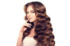 hår long Vågkrullningsfrisyr Skönhetkvinna med långt sunt och skinande slätt svart hår Updo Modefunktionsläge Arkivbild