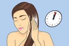 Hårbehandling i minut 1-3 med hårhårbalsamen vektor illustrationer