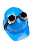 hård hatt för blåa goggles royaltyfri fotografi