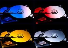 Hårda datorskivor för collage royaltyfri bild