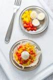 Hårda kokta vaktelägg med paprika Arkivfoto