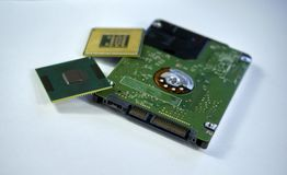 hårddisk för 2,5 tum bärbar datorsata med två CPU-bärbar datorprocessorer I Royaltyfria Bilder