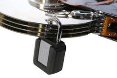 Hårddisk med en hänglås för säkerhet av data Fotografering för Bildbyråer