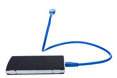Hårddisk med kabel USB Arkivbilder