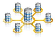 Hårddiskdatabas förbindelse i nätverk arkivbilder