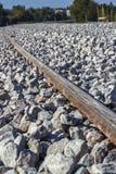 Hårdna järnväg sleepers Arkivbilder