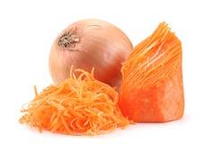 Hårdnad morotgrönsak och lök royaltyfri foto