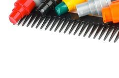 Hårkam och hår som utformar produkter Arkivbild