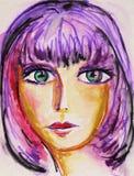 hårpurplekvinna Arkivfoto