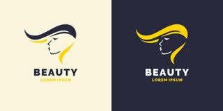 Hårreparationen och den ljusa logoen för barberaren shoppar Kontur av en flicka för en skönhetsalong stock illustrationer
