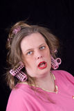 hårrullehårkvinna Arkivfoto