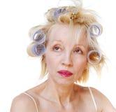 hårrullekvinna arkivbilder