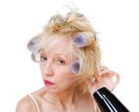 hårrullekvinna fotografering för bildbyråer