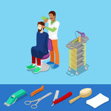 Hårsalong Barber Makes Man Hairstyle Isometric Vektor Illustrationer