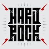 Hårt vagga - musikaffischen med röda blixtar Hardrock - t-skjorta stock illustrationer