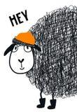 Hé - affiche tirée par la main mignonne de crèche avec l'animal frais de moutons avec les verres et le chapeau et le lettrage tir illustration de vecteur