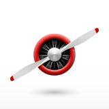 Hélice de avião do vintage com motor radial ilustração stock