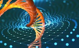 Hélice do ADN Tecnologias inovativas na pesquisa do genoma humano Inteligência artificial na medicina do futuro ilustração do vetor