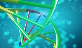 Hélice dobro do ADN no fundo azul macio Sciense médico, gene ilustração royalty free