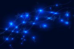 Hélice e sparkles do ADN no azul no fundo preto Fotografia de Stock Royalty Free