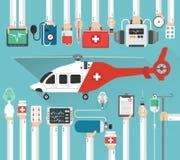 Hélicoptère d'ambulance, conception de medicalflat Image stock