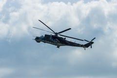 Hélicoptère de combat mil Mi-24 de derrière Photo libre de droits