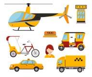 Hélicoptère de transport de fret blanc d'isolement par taxi de fourgon de camion d'icône de jaune de transport de voiture de tour Photo libre de droits