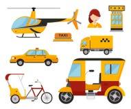 Hélicoptère de transport de fret blanc d'isolement par taxi de fourgon de camion d'icône de jaune de transport de voiture de tour Image stock