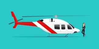 Hélicoptère et businesswome Vue de côté illustration stock