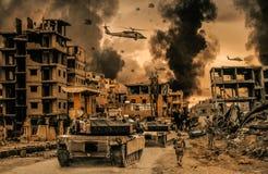 Hélicoptère et forces militaires dans la ville détruite illustration de vecteur