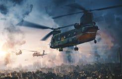 Hélicoptère et forces militaires dans la ville détruite photo libre de droits