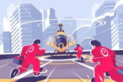 Hélicoptère jaune de délivrance et affiche plate d'équipe illustration stock