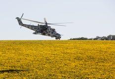 Hélicoptère militaire Mi-24 (de derrière) Photos libres de droits