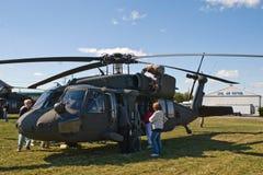 Hélicoptère noir de faucon Photographie stock
