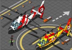 Hélicoptères isométriques de secours en Front View Image stock