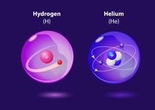 Hélio e hidrogênio do átomo Fotografia de Stock Royalty Free