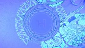 héliport Futur horizon de ville de concept Concept futuriste de vision d'affaires illustration 3D Photographie stock