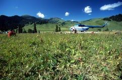 Héliport sur le camp de base de Karkara Photo stock