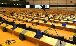 Hémicycle du Parlement européen à Bruxelles Chambre de discussion vide photos libres de droits