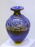 HÉRAKLION, GRÈCE - 3 AOÛT 2012 : Vase à moissonneuse dans l'archeologi Images stock
