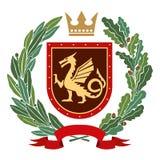 Héraldique, manteau des bras Branche d'olivier, branche de chêne, couronne, bouclier, dragon couleur illustration de vecteur