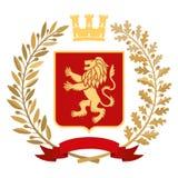 Héraldique, manteau des bras Branche d'olivier, branche de chêne, couronne, bouclier, lion couleur Photographie stock libre de droits