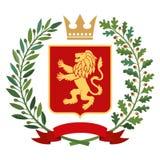 Héraldique, manteau des bras Branche d'olivier verte, branche de chêne, couronne, bouclier, lion couleur Image stock