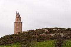 Hércules塔。 灯塔。 免版税图库摄影