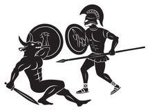 Hércules y Minotaur Imágenes de archivo libres de regalías